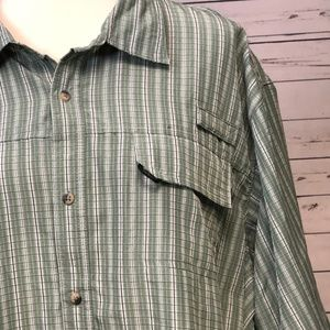 Wrangler Shirts - Wrangler Big & Tall 2XT Plaid Utility Shirt Green
